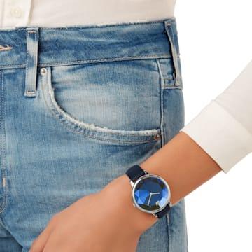 Zegarek Crystal Lake, pasek ze skóry, niebieski, stal nierdzewna - Swarovski, 5416006