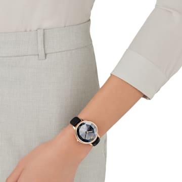 Crystal Lake 手錶, 真皮錶帶, 黑色, 玫瑰金色調PVD - Swarovski, 5416009
