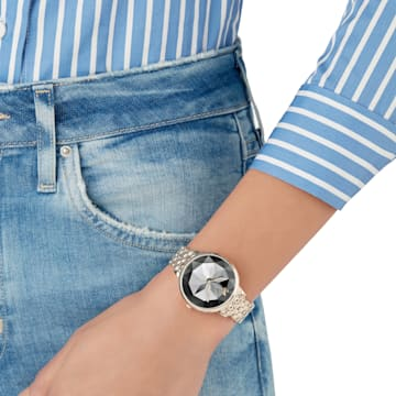 Crystal Lake Watch, Metal bracelet, Dark Gray, Champagne-gold tone PVD - Swarovski, 5416026