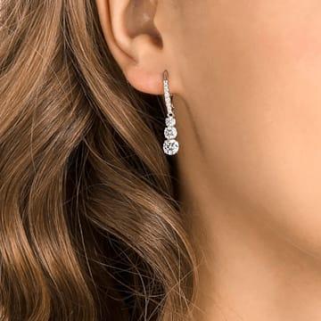 Attract Trilogy Round 穿孔耳環, 白色, 鍍白金色 - Swarovski, 5416155