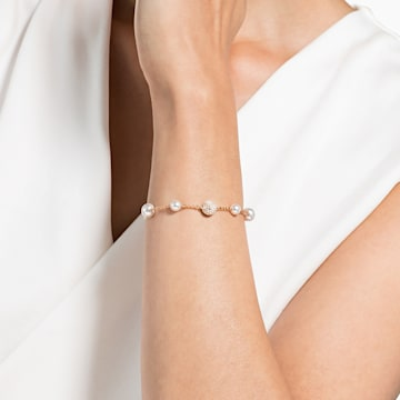 Swarovski Remix Collection Round Pearl Strand, blanco, Baño en tono Oro Rosa - Swarovski, 5421444