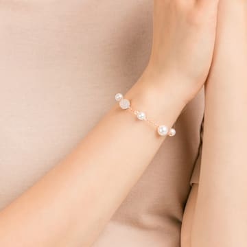Swarovski Remix Collection Round Pearl Strand, blanc, Métal doré rose - Swarovski, 5421444