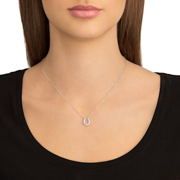 Towards necklace, Horseshoe, White, Rhodium plated - Swarovski, 5422290