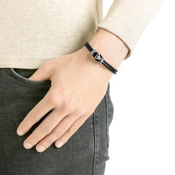 Bracelet Taddeo, Cuir, noir, Métal plaqué palladium - Swarovski, 5427135