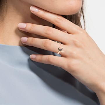 Swarovski Symbolic Moon Кольцо с мотивом, Черный Кристалл, Покрытие оттенка розового золота - Swarovski, 5429735