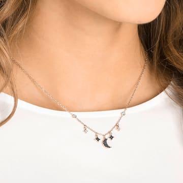 Collar Swarovski Symbolic Moon, negro, Baño en tono Oro Rosa - Swarovski, 5429737