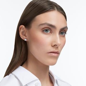 Τρυπητά σκουλαρίκια καρφιά Attract, λευκά, επιροδιωμένα - Swarovski, 5430365