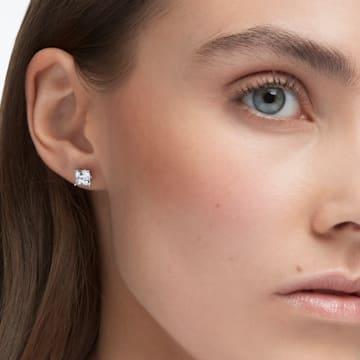 Attract 耳钉, 正方形切割仿水晶, 白色, 镀铑 - Swarovski, 5430365
