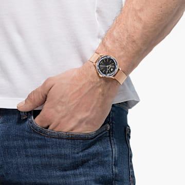 Reloj Octea Nova, Pulsera de malla milanesa, negro, PVD en tono Oro Rosa - Swarovski, 5430424