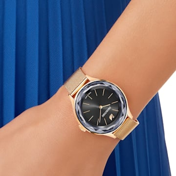 Hodinky Octea Nova, milánský náramek, černé, PVD v odstínu růžového zlata - Swarovski, 5430424