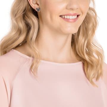 米奇与米妮 穿孔耳環, 黑色, 鍍玫瑰金色調 - Swarovski, 5435137