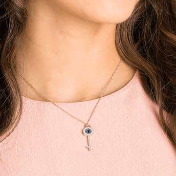 Swarovski Symbolic necklace, Evil eye and key, Blue, Rose-gold tone plated - Swarovski, 5437517