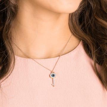 Swarovski Symbolic Halskette, Augensymbol und Schlüssel, Blau, Roségold-Legierung - Swarovski, 5437517