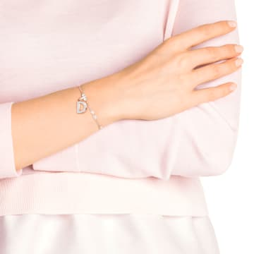 Swarovski Remix Collection Charm D, Белый Кристалл, Покрытие оттенка розового золота - Swarovski, 5437620