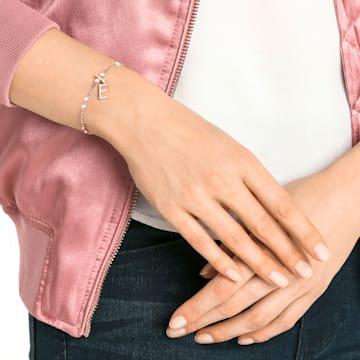 Talisman E, Swarovski Remix Collection, alb, placat în nuanță de aur roz - Swarovski, 5437621