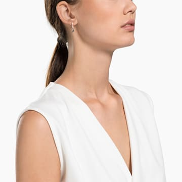 Swarovski Symbolic Moon Hoop Pierced Earrings, Black, Rose-gold tone plated - Swarovski, 5440458