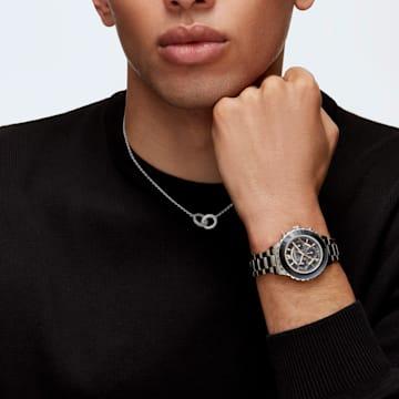Stone necklace, Circular, Black, Rhodium plated - Swarovski, 5445706