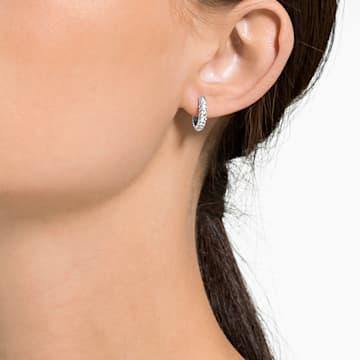 Τρυπητά σκουλαρίκια Stone, λευκά, επιροδιωμένα - Swarovski, 5446004