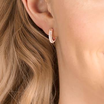 Stone 大圈耳环, 小码 , 白色, 镀玫瑰金色调 - Swarovski, 5446008