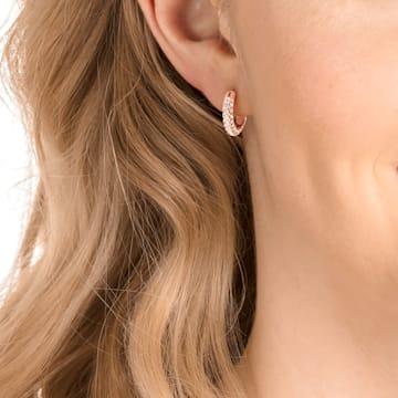 Anneaux d'oreilles Stone, Petit, Blanc, Métal doré rose - Swarovski, 5446008