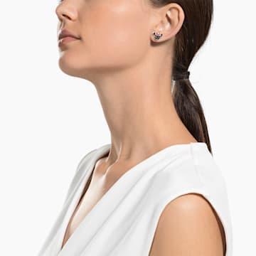 米奇与米妮 穿孔耳環, 黑色, 鍍玫瑰金色調 - Swarovski, 5446390
