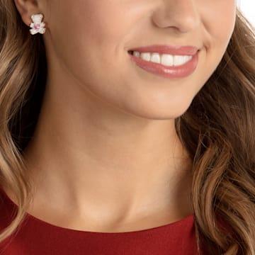 Teddy Pierced Earrings, Multi-colored, Rose-gold tone plated - Swarovski, 5447445