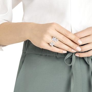 Louison 開口戒指, 白色, 鍍白金色 - Swarovski, 5448851