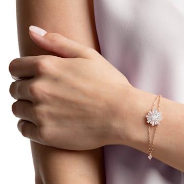 Braccialetto Sunshine, Bianco, Placcato color oro rosa - Swarovski, 5451357