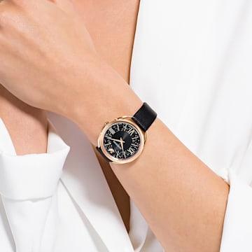 Ρολόι Crystalline Glam, δερμάτινο λουράκι, μαύρο, PVD σε χρυσή ροζ απόχρωση - Swarovski, 5452452