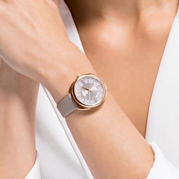 Relógio Crystalline Glam, pulseira em couro, cinzento, PVD rosa dourado - Swarovski, 5452455