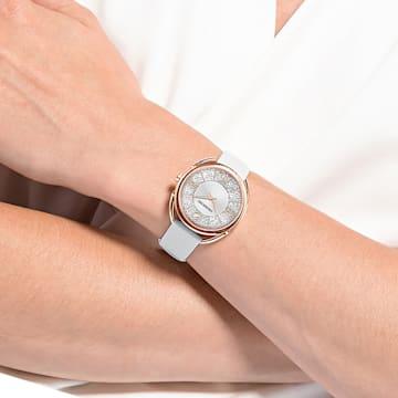 Crystalline Glam 手錶, 真皮錶帶, 白色, 玫瑰金色調PVD - Swarovski, 5452459
