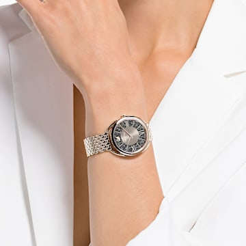 Hodinky Crystalline Glam s kovovým páskem, šedé, PVD s odstínem v barvě Champagne - Swarovski, 5452462