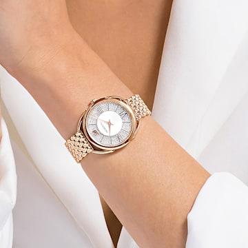 Hodinky Crystalline Glam s kovovým páskem, bílé, PVD v odstínu růžového zlata - Swarovski, 5452465