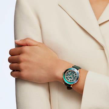 Hodinky s chronografem Octea Lux, kožený pásek, zelené, PVD v odstínu růžového zlata - Swarovski, 5452498