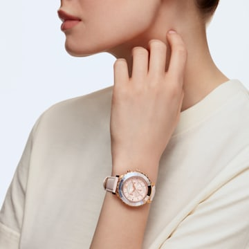 Relógio Octea Lux Chrono, pulseira em cabedal, rosa, PVD rosa dourado - Swarovski, 5452501