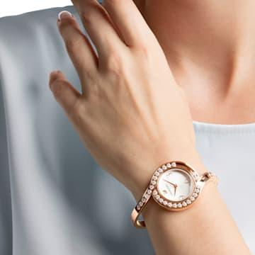 Lovely Crystals Bangle 腕表, 金属手链, 白色, 玫瑰金色调 PVD - Swarovski, 5453648