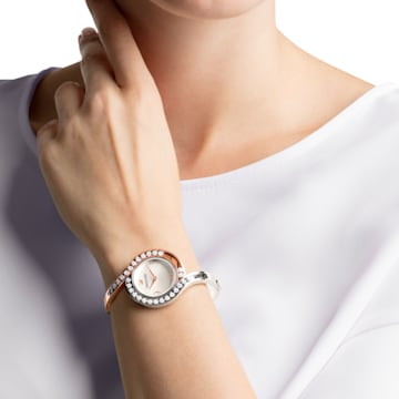 Lovely Crystals Bangle Watch, Metal bracelet, White, Bicolor PVD - Swarovski, 5453651