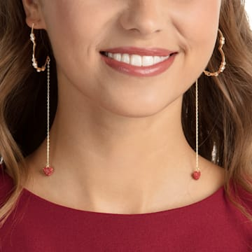 Oxo Pierced Earrings, Red, Gold-tone plated - Swarovski, 5455568