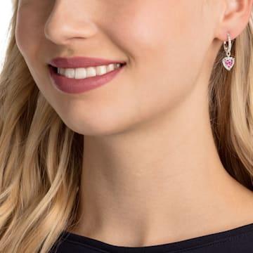 Boucles d'oreilles One, rouge, Métal rhodié - Swarovski, 5456979