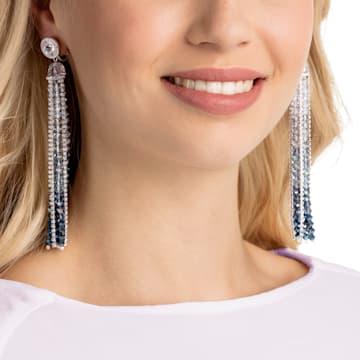Ocean View Clip Earrings, Multi-colored, Rhodium plated - Swarovski, 5457523