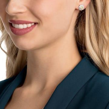 Sunshine Pierced Earrings, White, Rhodium plated - Swarovski, 5459591