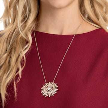 Sunshine 项链, 白色, 镀玫瑰金色调 - Swarovski, 5459593