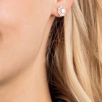 Sunshine 穿孔耳环, 白色, 镀玫瑰金色调 - Swarovski, 5459597
