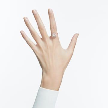 Inel Sunshine, alb, placat în nuanță aur roz - Swarovski, 5459599