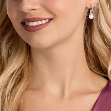 Originally 穿孔耳環, 白色, 鍍白金色 - Swarovski, 5461080