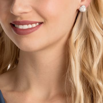 Originally Pierced Earrings, White, Rhodium plated - Swarovski, 5461087