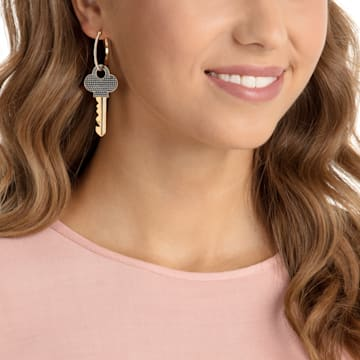 Optimal Pierced Earrings, Black, Gold-tone plated - Swarovski, 5461375