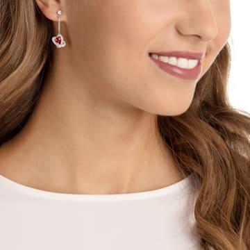 Outstanding Pierced Earrings, Red, Rhodium plated - Swarovski, 5462581