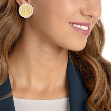 Lucky Goddess 夹式耳环, 白色, 镀金色调 - Swarovski, 5464120
