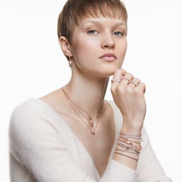Tennis Deluxe Браслет, Белый Кристалл, Покрытие оттенка розового золота - Swarovski, 5464948